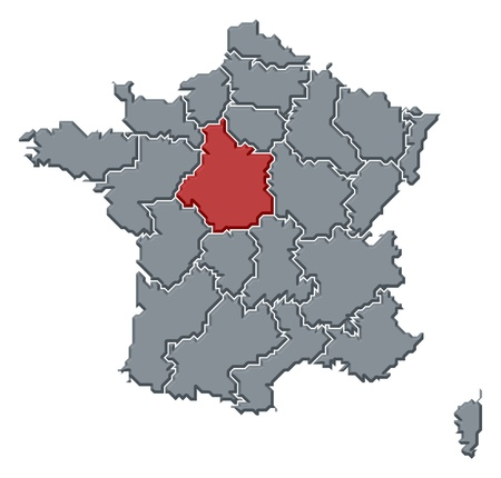 regions: Political map of France with the several regions where Centre is highlighted. Stock Photo