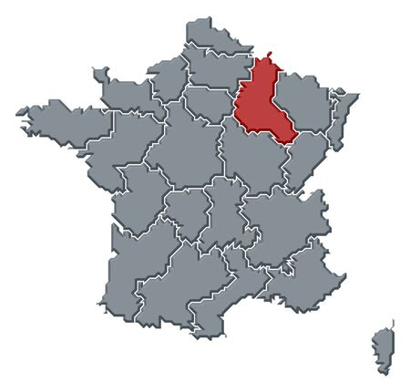 Political map of France with the several regions where Champagne-Ardenne is highlighted.