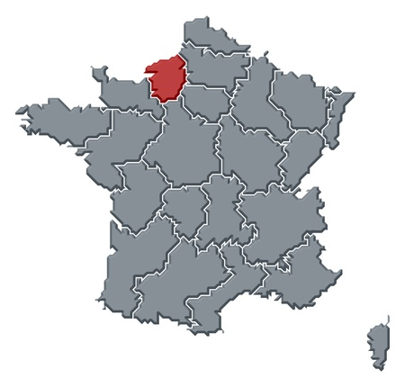 Political map of France with the several regions where Upper Normandy is highlighted. photo