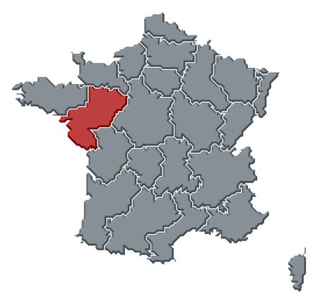 belgie: Political map of France with the several regions where Pays de la Loire is highlighted. Stock Photo