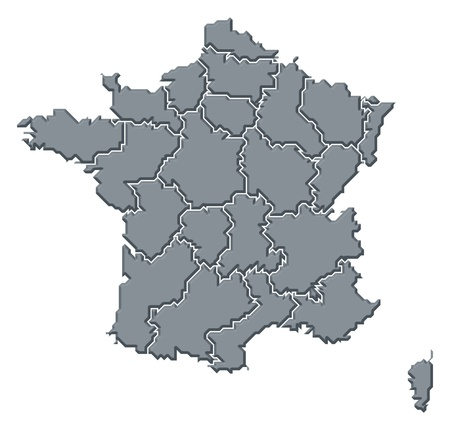 belgie: Political map of France with the several regions.