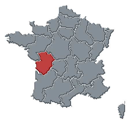 belgie: Political map of France with the several regions where Poitou-Charentes is highlighted.