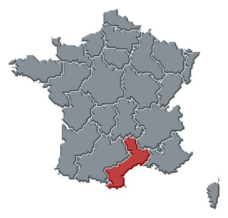 Political map of France with the several regions where Languedoc-Roussillon is highlighted. photo