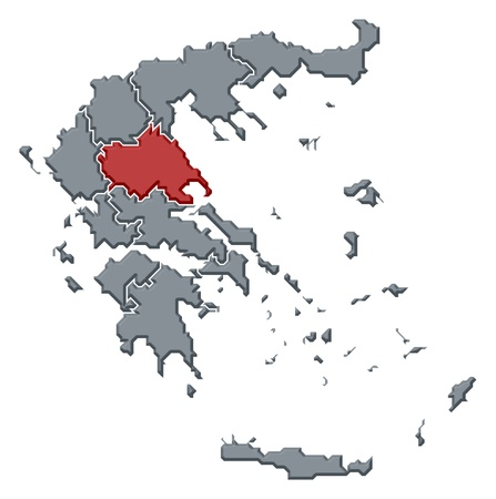 thessalia: Political map of Greece with the several states where Thessaly is highlighted.
