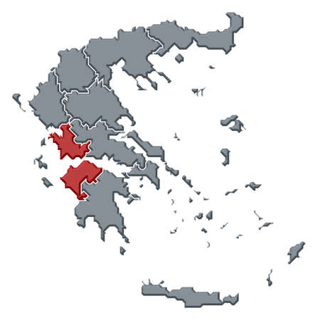 Political map of Greece with the several states where West Greece is highlighted.