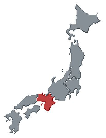 Political map of Japan with the several regions where Kinki is highlighted. Stock Photo - 10826882