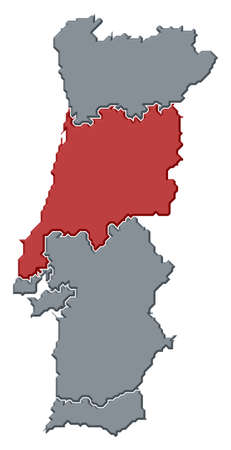 Political map of Portugal with the several regions where Centro Region is highlighted.