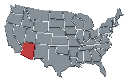 marked: Political map of United States with the several states where Arizona is highlighted.