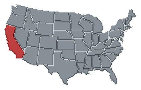 Political map of United States with the several states where California is highlighted. photo