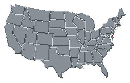 mapa politico: Mapa pol�tico de Estados Unidos con varios Estados donde se resalta el Delaware. Foto de archivo