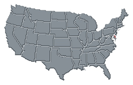 us map: Political map of United States with the several states where Delaware is highlighted. Stock Photo