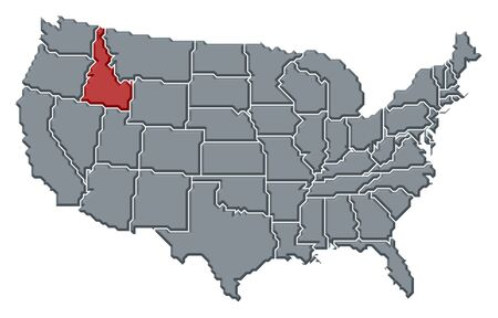 Political map of United States with the several states where Idaho is highlighted.