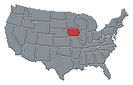 Political map of United States with the several states where Iowa is highlighted. photo