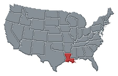 Political map of United States with the several states where Louisiana is highlighted. photo