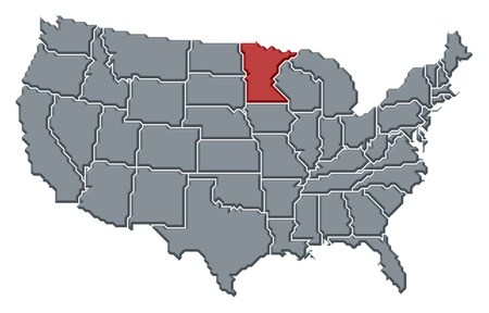 frontiers: Political map of United States with the several states where Minnesota is highlighted.