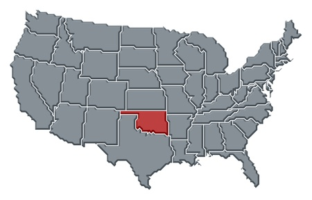 Political map of United States with the several states where Oklahoma is highlighted. Stock Photo