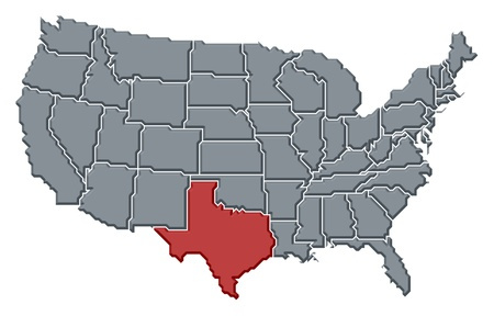 Political map of United States with the several states where Texas is highlighted. photo