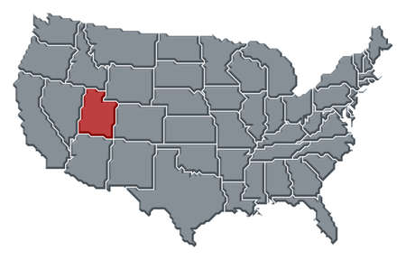 Political map of United States with the several states where Utah is highlighted. photo