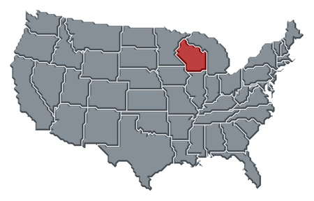 Political map of United States with the several states where Wisconsin is highlighted.