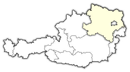 Political map of Austria with the several states where Lower Austria is highlighted. photo