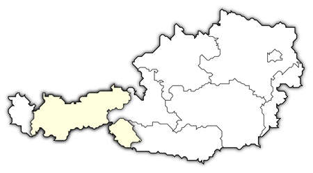 Political map of Austria with the several states where Tyrol is highlighted. photo