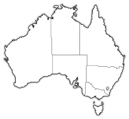 Political map of Australia with the several states where Capital Territory is highlighted.