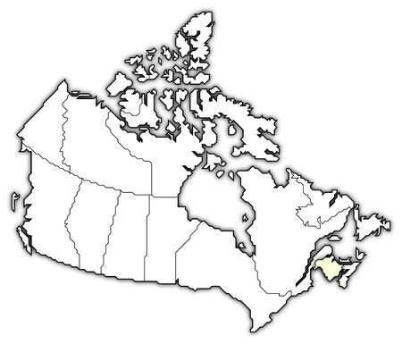Political map of Canada with the several provinces where New Brunswick is highlighted. photo