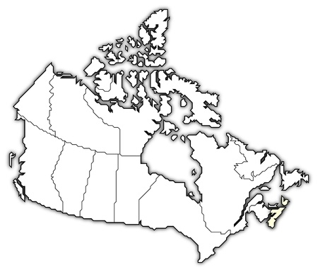 Political map of Canada with the several provinces where Nova Scotia is highlighted. Stock Photo