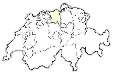 Political map of Swizerland with the several cantons where Aargau is highlighted. photo