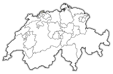 swizerland: Political map of Swizerland with the several cantons where Basel-Stadt is highlighted.