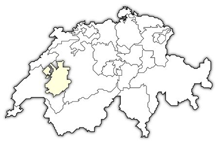 freiburg: Political map of Swizerland with the several cantons where Fribourg is highlighted. Stock Photo