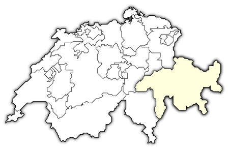 swizerland: Political map of Swizerland with the several cantons where Graub�nden is highlighted.