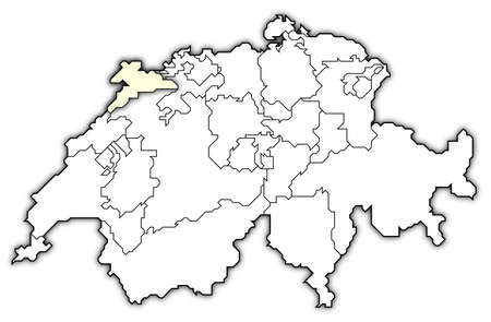 cantons: Political map of Swizerland with the several cantons where Jura is highlighted.