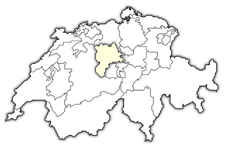 swizerland: Political map of Swizerland with the several cantons where Lucerne is highlighted.