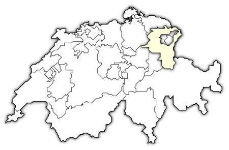 st  gallen: Mapa pol�tico de Swizerland con los varios cantones, donde se destacan St. Gallen.