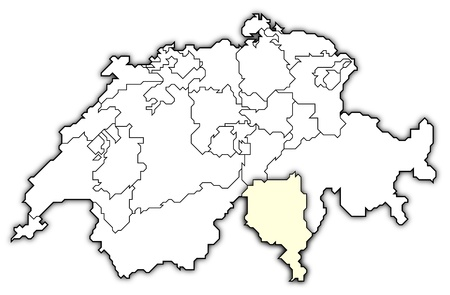 cantons: Political map of Swizerland with the several cantons where Ticino is highlighted.