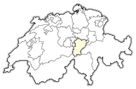cantons: Political map of Swizerland with the several cantons where Uri is highlighted. Stock Photo