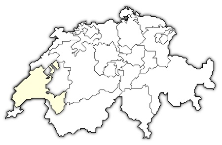 swizerland: Political map of Swizerland with the several cantons where Vaud is highlighted. Stock Photo