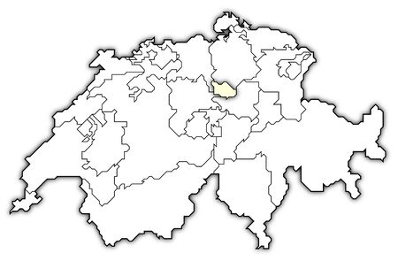 swizerland: Political map of Swizerland with the several cantons where Zug is highlighted. Stock Photo