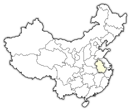 frontiers: Political map of China with the several provinces where Anhui is highlighted.