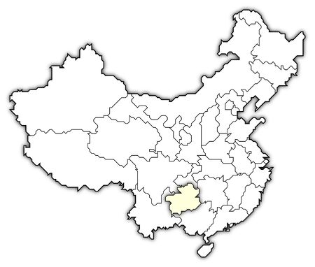 Political map of China with the several provinces where Guizhou is highlighted. photo