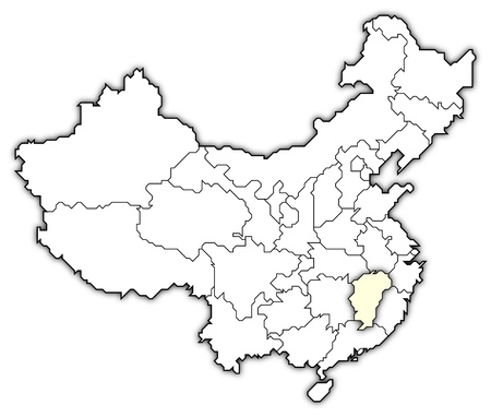 Political map of China with the several provinces where Jiangxi is highlighted. photo