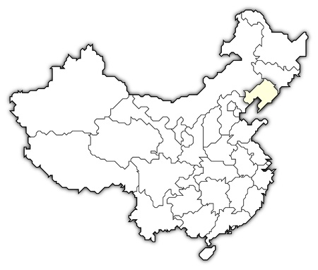 Political map of China with the several provinces where Liaoning is highlighted. photo