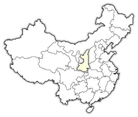 Political map of China with the several provinces where Shaanxi is highlighted. photo
