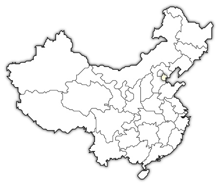Political map of China with the several provinces where Tianjin is highlighted. photo