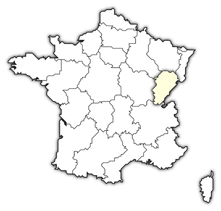 belgie: Political map of France with the several regions where Franche-Comt� is highlighted.