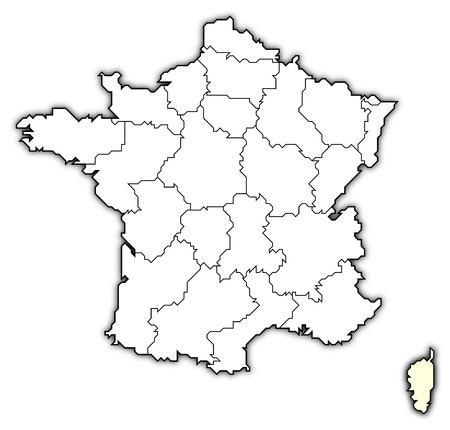 Mappa politica della Francia con le varie regioni in cui si evidenzia Corsica.