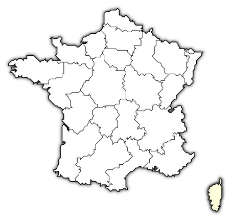 prov�ncia: Political map of France with the several regions where Corsica is highlighted. Banco de Imagens