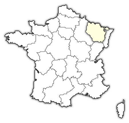 belgie: Political map of France with the several regions where Lorraine is highlighted. Stock Photo