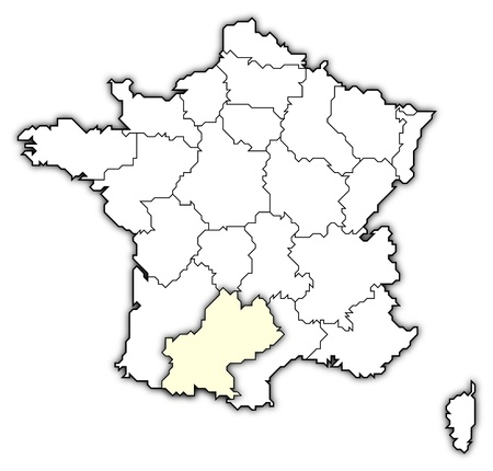 belgie: Political map of France with the several regions where Midi-Pyr�n�es is highlighted. Stock Photo